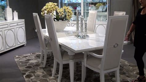 Amini Dining Room Furniture Sky Tower Rectangular Dining Room Set In White By Michael Amini Circle