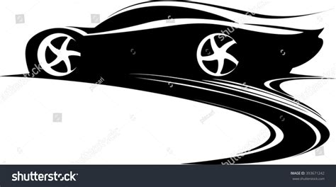 car logo black and white sport car label design fast car stock vector 393671242