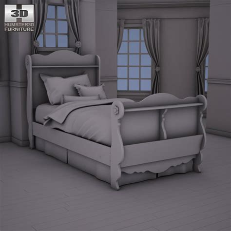 3d doll house games ashley doll house sleigh bedroom set 3d model game ready max obj 3ds fbx c4d lwo