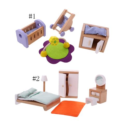 dollhouse bedroom furniture set doll house miniature bedroom wooden furniture sets mini