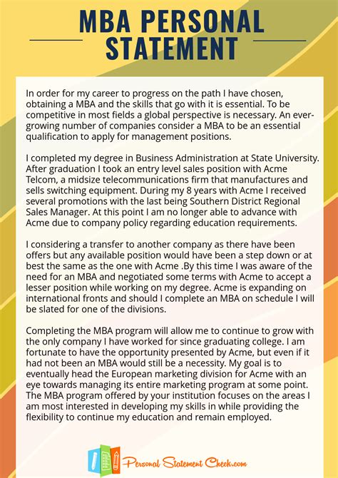 pin by personal statement sles on mba personal