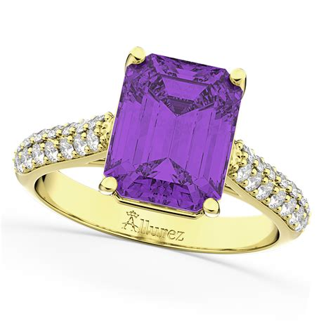 emerald cut amethyst engagement ring 14k yellow