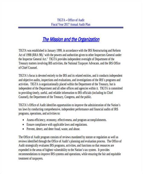 7 audit plan exles sles