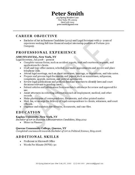legal secretary resume exle