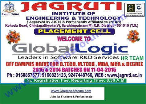Tech Mba by Freshers Globallogic Technologies Cus Be