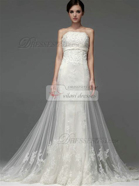 a line tulle strapless up appliques sequin wedding