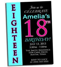 sle 18th birthday invitation wording 2 18th birthday pink black and cyan printable