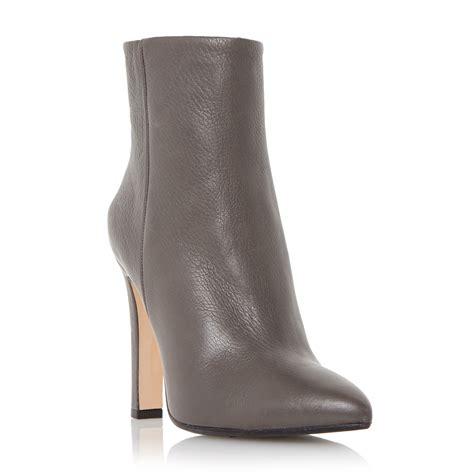 grey leather boots dune black ora leather pointed toe ankle boots in gray grey lyst