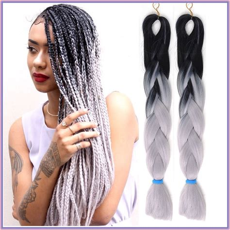 kanekolan hair black white grey aliexpress com buy 10pcs 24 quot black l grey ombre kanekalon
