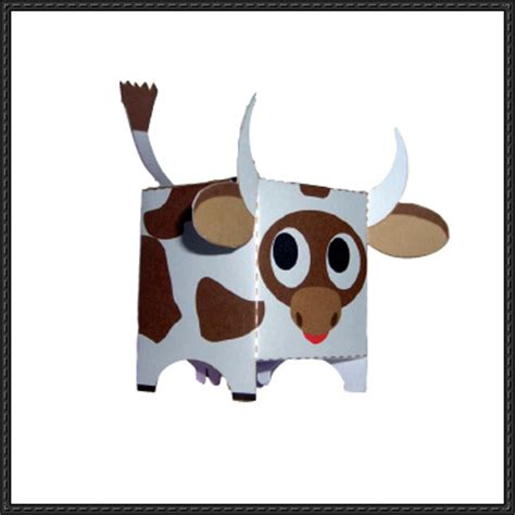 Cow Paper Craft - cow papercraftsquare free papercraft