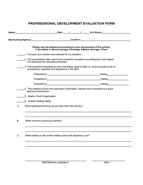professional development evaluation form sle free