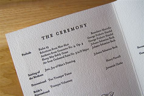 what goes in a wedding program get with the program the parklife
