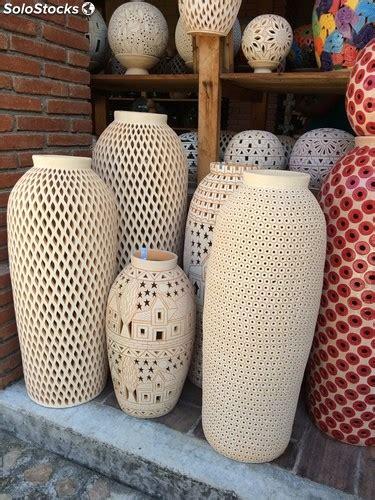 jarrones  vasijas de barro calado  bordado