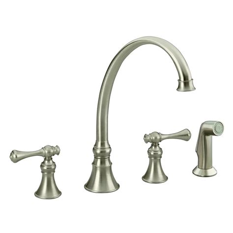 shop kohler revival vibrant brushed nickel 2 handle high kohler revival 2 handle standard kitchen faucet in vibrant