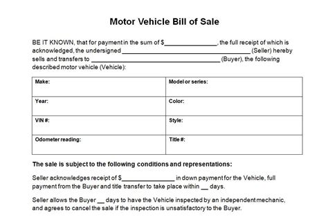 bill of sale template for car motor vehicle bill of sale template