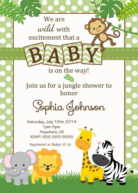 Free Safari Baby Shower Invitations Google Search Baby Shower Pinterest Shower Jungle Baby Shower Invitations Free Template