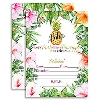 Come With Me Luau Dinner For 8 Invites by Tropical Aloha Flamingo Pineapple Invitation