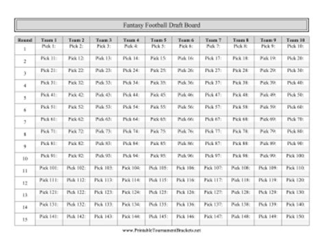 printable fantasy football draft board
