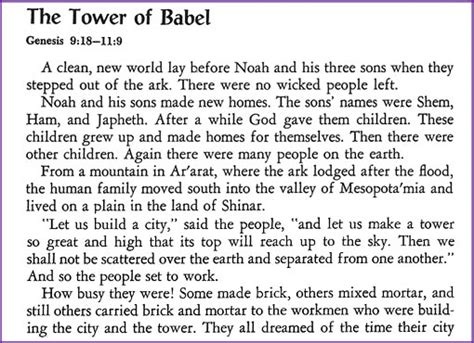 Time For Bed Bible Stories the tower of babel story korner biblewise