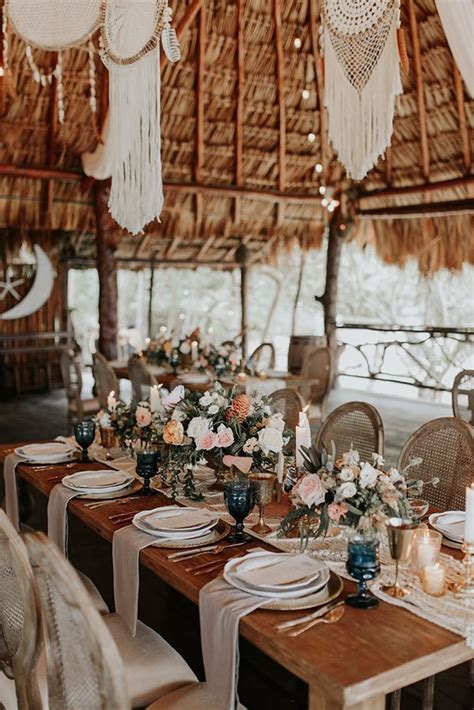 boho chic wedding table decorations   chicwedd