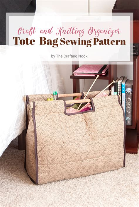 tote bag pattern with dividers craft and knitting organizer tote bag sewing pattern