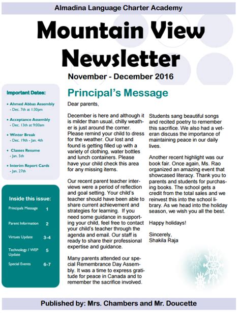 newsletters almadina language charter academy
