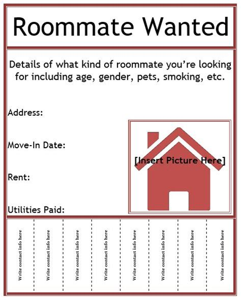 room for rent flyers templates roommate wanted flyer template business pinterest