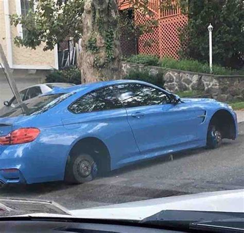 bmw m4 slammed bmw m4 has wheels stolen overnight may appear slammed
