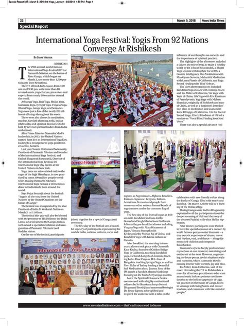 layout of the hindu newspaper international yoga festival yogis from 92 nations