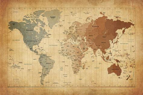 printable art world map time zones map of the world digital art by michael tompsett