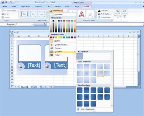 pattern fill shape excel apply a shape fill to a smartart graphic smartart