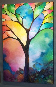 cool painting ideas two trees giclee print on canvas by sally trace