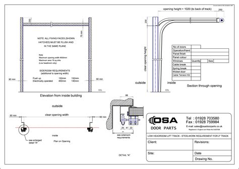 Drawings For Sectional Overhead Doors 187 Osa Door Parts Limited Sectional Garage Door Parts