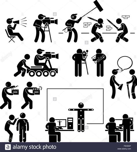 icon design creating pictograms with purpose director making filming movie production actor stick