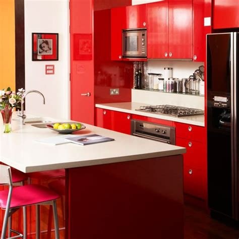 red kitchen ideas bold red kitchen modern kitchen housetohome co uk