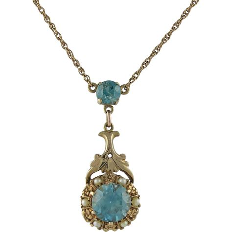 style 14k gold blue zircon necklace from