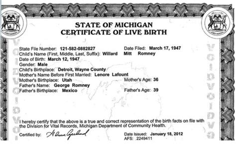 Record Of Live Birth Romney Releases Certificate Of Live Birth What Is He Hiding Pensito Review