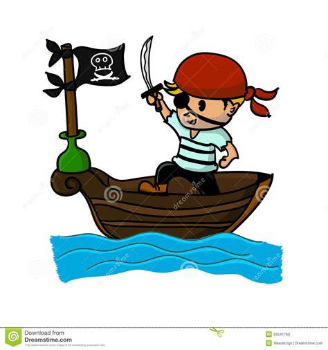 cartoon boat at sea pirate cartoon on boat at sea stock vector image 55541760
