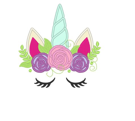 embroidery design unicorn unicorn head with shabby chick roses crown applique machine