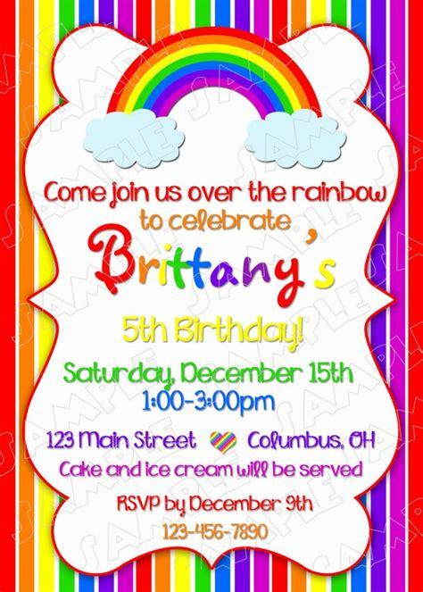 rainbow invitation card template rainbow invitation birthday rainbow