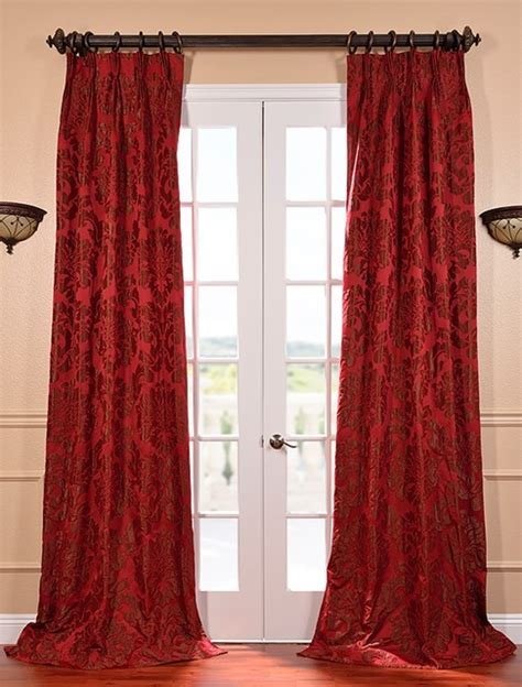 red faux silk curtains astoria red bronze french pleat faux silk jacquard