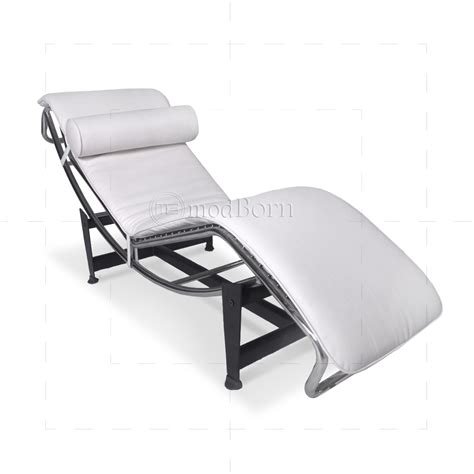 le chaise le corbusier style lc4 chaise longue white leather