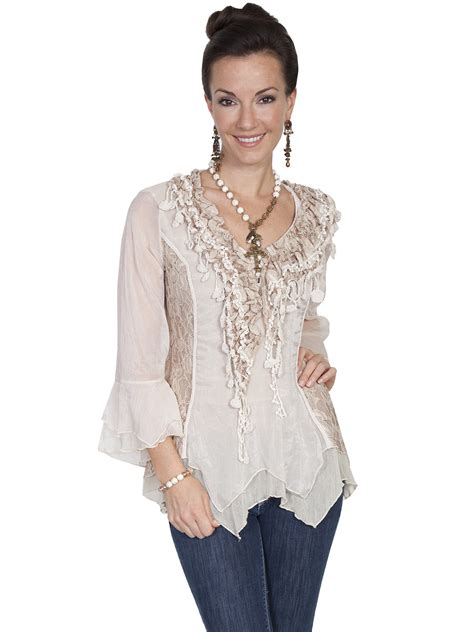 Lace Ruffled Blouse western ruffle blouse collar blouses