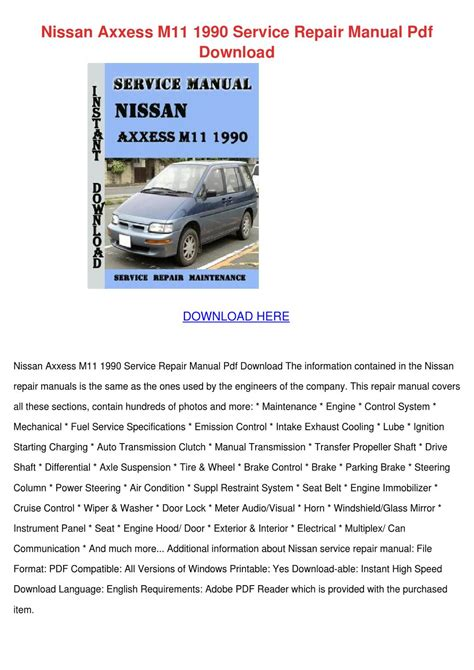 how to download repair manuals 1990 nissan datsun nissan z car electronic valve timing nissan axxess m11 1990 service repair manual by kirkjankowski issuu