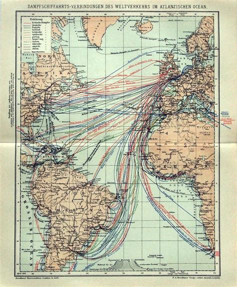 map of german routes a german map of atlantic steamship routes from 1895 via