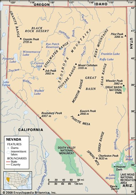 nevada physical map nevada physical features encyclopedia children