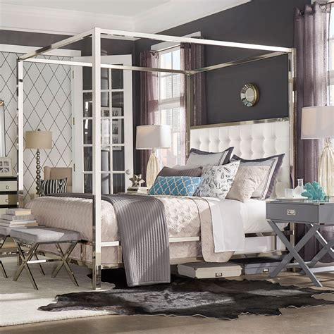chrome bedroom furniture adora white glam chrome canopy bed homehills canopy canopy