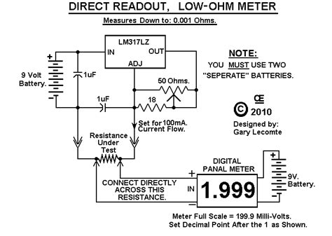 how to make a low ohm resistor low ohm meter measures 0 001 up to 1 999 ohm
