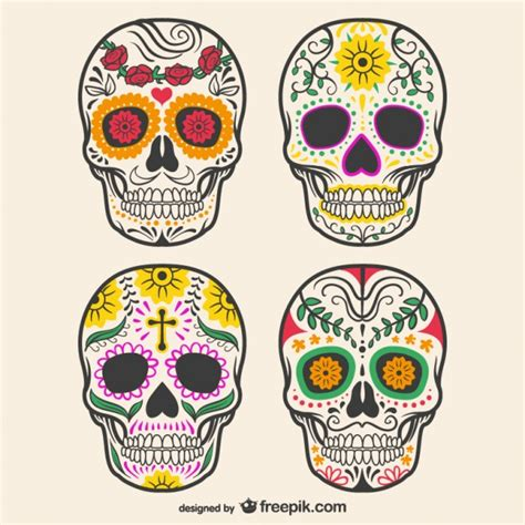 colorful skull colorful decorated skulls vector free