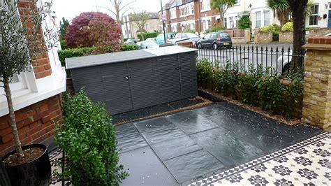 garden wall tiles bespoke front garden bike store paving slate patio front